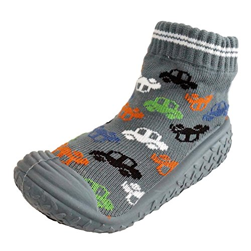 Infant Q Baby Boys Girls Anti-slip Rubber First Walking Sock Shoes (M: 12-18 Months, Cars | Grey)
