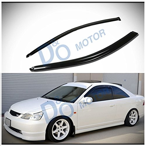 D&O MOTOR 2pcs Front JDM Smoke Sun/Rain Guard Outside Mount Tape-On Window Visors For 01-05 Honda Civic 2-Door Coupe