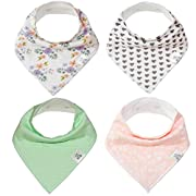 Baby Bandana Drool Bib 4 Piece Set, Best for Teething and Drooling, Absorbent and Soft,  The Laine Pack  for Girls by Buddies + Bear, 100% Organic Cotton + Polyester Fleece, Registry Gift
