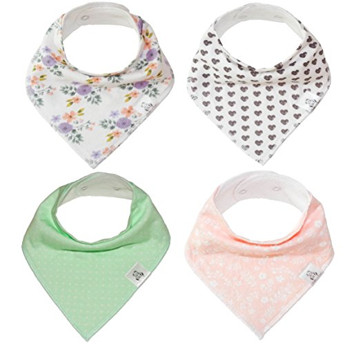 "Baby Bandana Drool Bib 4 Piece Set, Best for Teething and Drooling, Absorbent and Soft, ""The Laine Pack"" for Girls by Buddies + Bear, 100% Organic Cotton + Polyester Fleece, Registry Gift"