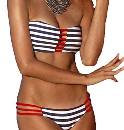 Padded Bandeau Bikini Set Bra Bathing LIWELL Monokini Suit Set Beachwear Women Tribal Bikini Swimwear Swimsuit Strip Bikini Set Beach pETIx