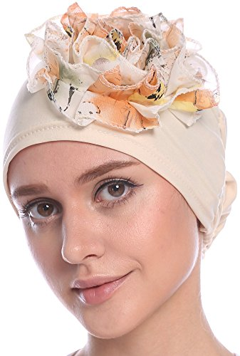 Ababalaya Women Soft Flower Turban Hat confinement in childbirth Cap Chemo Cancer Cap Head Cover in 5 Colors (Cool 2 People Costumes)