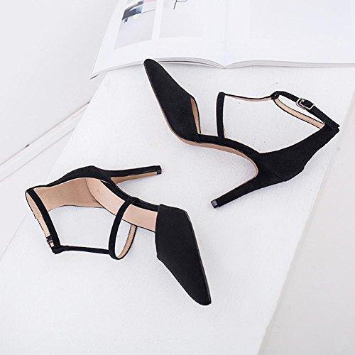 L@YC® Tacones altos De Las Mujer Primavera Bellas Salvajes Con La Punta Hebilla Palabra Hueca Baotou Dance Sandals Black