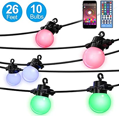 Elrigs Led String Lights Color Changing Rgbw 26 Feet With 10x G45 Bulbs App Control Ip65 Waterproof For Indoor And Outdoor Ambiance Light For