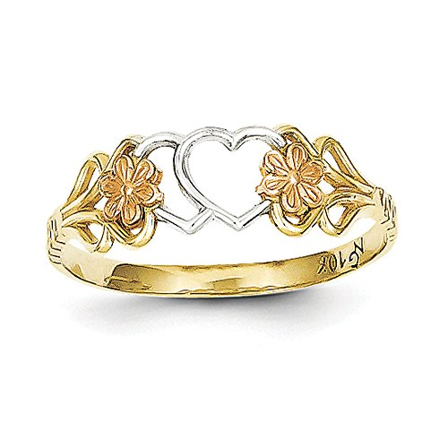 Women's 10K Tri-Color Gold Triple Heart Ring
