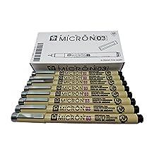 Sakura Pigma Micron Pens Tip Size 03 (0.35mm Line Width), Drawing, Sketching, Writing (Black Inking) - 8 pack set