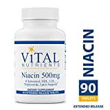 Vital Nutrients - Niacin 500 mg Extended Release - Cholesterol, HDL, LDL, Triglyceride, LP(A) Support - 90 Extended Release Tablets