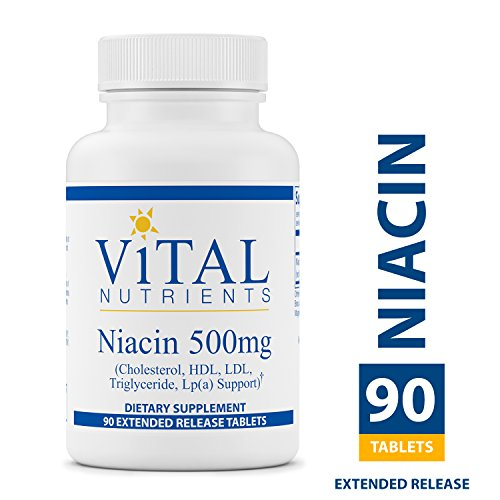 - Vital Nutrients - Niacin 500 mg Extended Release - Cholesterol, HDL, LDL, Triglyceride, LP(A) Support - 90 Extended Release Tablets per Bottle