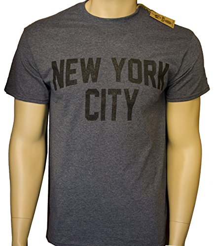 New York City Unisex T-Shirt Screenprinted Dark Heather Charcoal Lennon Tee (2XL) (John Lennon New York T Shirt)