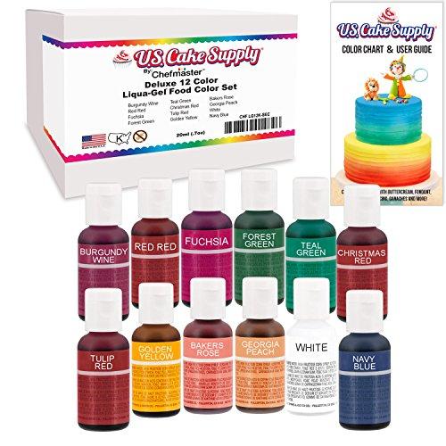 12 Color Cake Food Coloring Liqua-Gel Decorating Baking Set KIT #2 Secondary Colors – U.S. Cake Supply 0.75 fl. oz. (20ml) Bottles