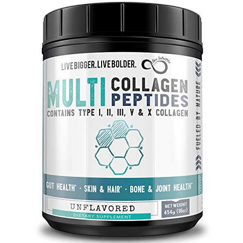 Multi-Collagen Peptides Protein Powder - Type I, II, III, V & X - Pure Blend of Grass-fed Beef, Chicken, Eggshell, Wild Fish & Bone Broth - All 9 Essential Amino Acids - Unflavored (Unflavored, 16oz)