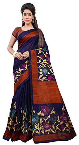 Baba Trendz Womens Bhagalpuri Art Silk Saree (Blue)