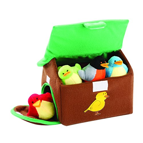 Birdhouse Carrier With 4 Chirping Birds by Animal House | Baby Gift | Toddler Gift