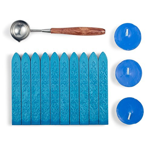 Mceal Sealing Wax Set Non-Wicked Magic Arrow Sealing Wax with Retro Rosewood Handle Wax Seal Spoon and Candles 14 Pieces(Sky Blue)
