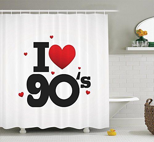 [90s Decorations Collection I Love 90s Illustration Hearts Decade Good Old Days Favorite Times Passion Artwork Polyester Fabric Bathroom Shower Curtain Black] (90s Decade Costumes)