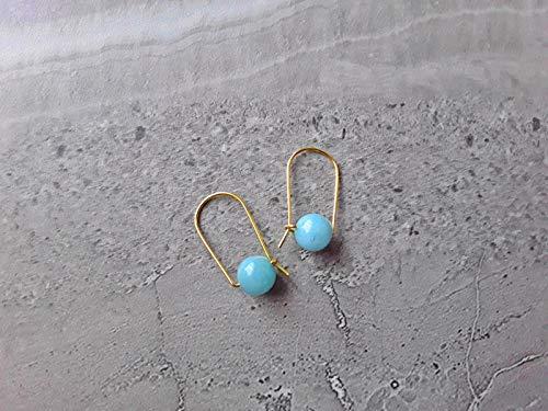 Sky Blue Quartz Modern Hoop Earrings Gold