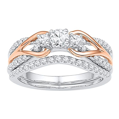 (Jewels By Lux 14kt White Gold Rose-Tone Womens Round Diamond Knot Bridal Wedding Engagement Ring Band Set 5/8 Cttw Ring Size 5)