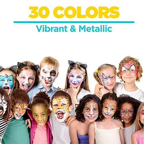 Face Paint Crayons 30 for Kids, 30 Jumbo 3.25″ Face & Body Painting Makeup Crayons, Safe for Sensitive Skin, 6 Metallic & 24 Classic Colors, Great for Birthday Party (1 Pack)