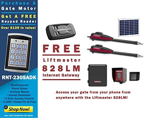 Liftmaster LA412PKGU Dual 12VDC Solar Residential Linear Actuator - Free Liftmaster 828LM Internet Gateway & FREE RNT-230SADK Weatherproof Keypad Prox Reader 1000+ Users