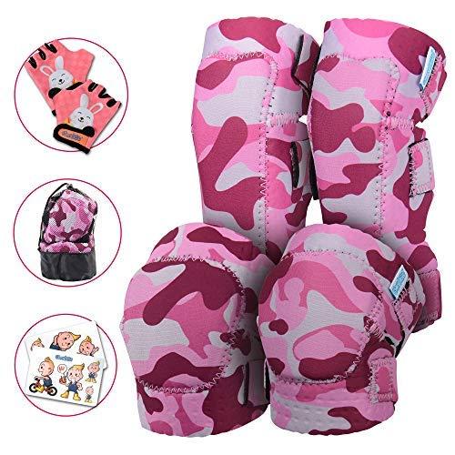 Knee and Elbow Pads with Bike Gloves | Toddler Protective Gear Set w/Mesh Bag& Sticker | Comfortable& Flexible | Roller-Skating, Skateboard, Bike Knee Pads for Children Boys Girls ()