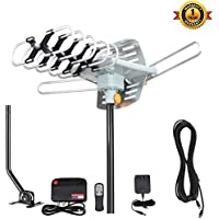 TV Antenna,VIEWTEK Outdoor Amplified HDTV Antenna with Adjustable Antenna Mount Pole 150 Miles Range 360° Rotation Wireless Remote for a better reception with 4K ready