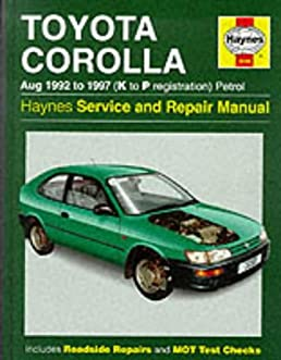 toyota corolla 1992 97 service and repair manual haynes service and rh amazon com Haynes Manual Monte Carlo Back Haynes Manuals UK