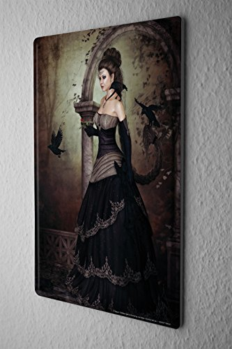 Tin Sign Metal Poster Gothic Raven Black Woman Dream World Vintage Decoration 8X12