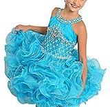 SweetFaterk Infant Girls' Scoop Halter Neckline Pageant Cupcake Dress 1 Blue