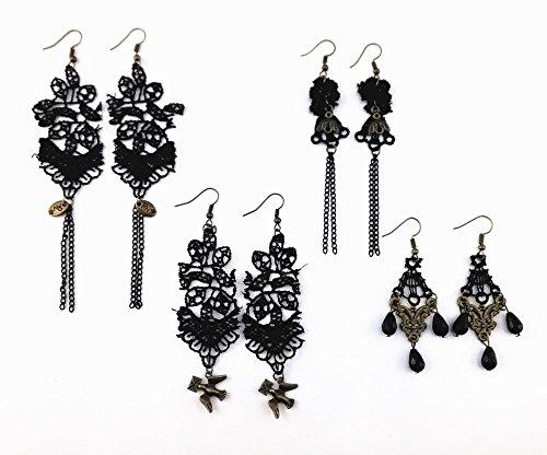 Honbay 4 Pairs Vintage Black Hollow Out Lace Tassels Chandelier Dangle Earrings - Dangle Lace