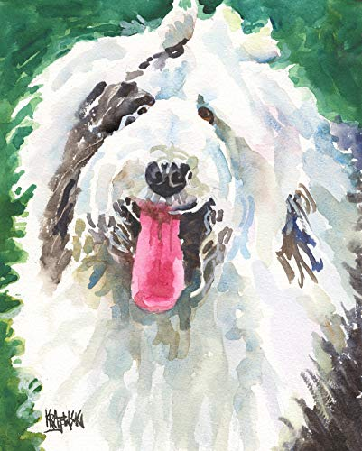 Old English Sheepdog Art Print of Original Watercolor Painting, Dog Portraits and Gifts by Ron Krajewski