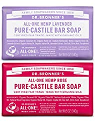 Dr. Bronner's Pure-Castile Bar Soap Bundle (2 Pack) – Lavender (5oz) & Rose (5 oz)