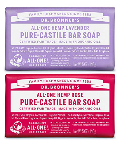 Dr. Bronner's Pure-Castile Bar Soap Bundle (2 Pack) – Lavender (5oz) & Rose (5 oz) ()