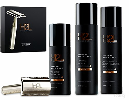 Hill Almond Shaving Cream - H2L Complete Shaving Kit   Includes High-End Razor & 10 Blades, Pre-Shave Primer Oil, Shaving Lotion, After Shave Bump Prevention Balm (5 pieces in gift set)   By Hill Harper