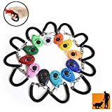 Rocutus 12 Pieces Colorful Pet Dog Training Clicker,Oval Pet Trainer Clicker with Wrist Strap,Pet Training Ring,Train Dog, Ca