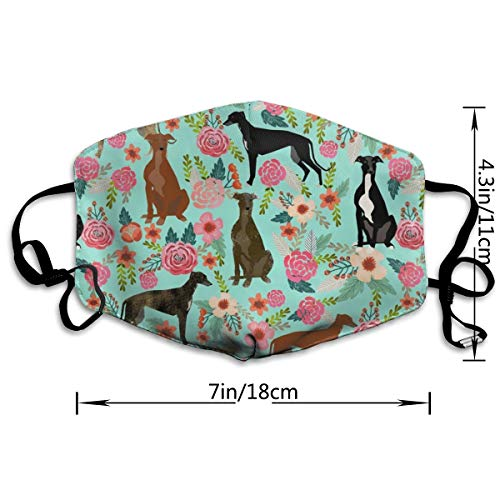 Befectar Premium Men Women Breathable Indoor Outdoor Half Face Mask - Adjustable Dustproof Anti Pollution Pollen Safety Medical Mouth Mask Greyhound Floral Cute Dog Mint Vintage