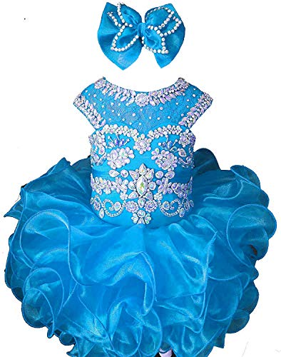 M_RAC Baby Girl's Crystal Jewel Pageant Cupcake Dress Birthday Party Mini Gowns 5 US Turquoise