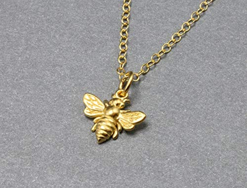 Small Gold Bee Necklace, Honeybee and Bumble Bee Jewelry, Minimal Save the Bee Necklace, Detailed Gold Vermeil Bee Charm on 14k Gold Filled Chain