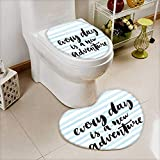 2 Piece Anti-Slip Toilet mat Every Day is a New Adventure Calligraphy Text Watercolor Stripes Print Light Blue Anti-Slip Water Absorption