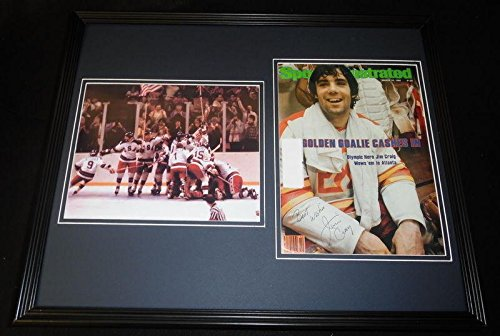 - Jim Craig Signed Framed 1980 Sports Illustrated Cover Display Miracle on Ice B - Autographed NHL Magazines