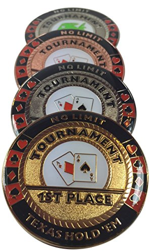 Four Coin Poker Weight Trophy Set - 1st, 2nd, 3rd, & 1st out by pokerweights