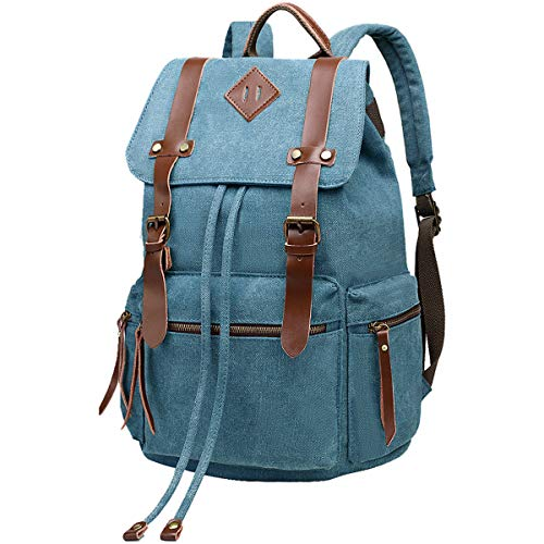 BeautyWill Vintage Canvas Backpack Rucksack Casual Bookbag Unisex for College Travel Hiking Camping Men Women Student, Blue