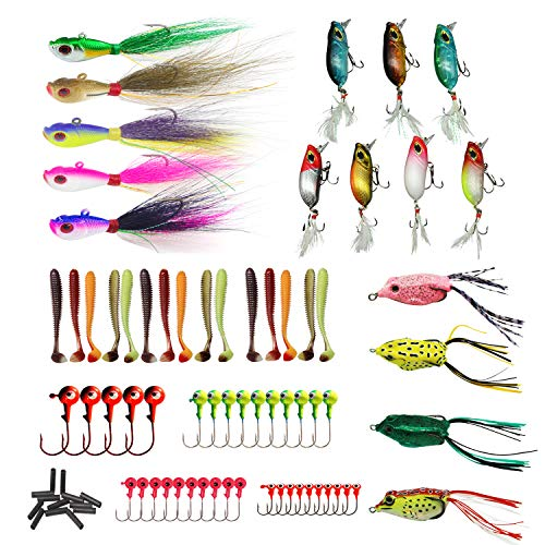 Bucktail Worm - Saltwater Fishing Lures Tackle Kit - 166pcs Swimbait Including Bucktail Jigs, Fishing Bait, Frogs and Grub Worms, Bass Trout Fluke Surf Fishing Gear, Fishing Gifts for Fisherman