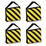 SODIAL(R) Heavyweight bag Heavy duty film bag for studio video studio for light supports tripod arms (4 Pcs Set, Black + Yellow)