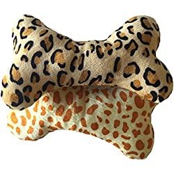 "Brogan's Heroes 2-Pack 7"" Long Animal Print Squeak Bone Shaped Dog Toys...So Cute!...Leopard Spots"