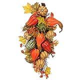 28'' Artificial Pumpkin, Gourd & Maple Leaf Door Teardrop Swag -Fall (pack of 2)