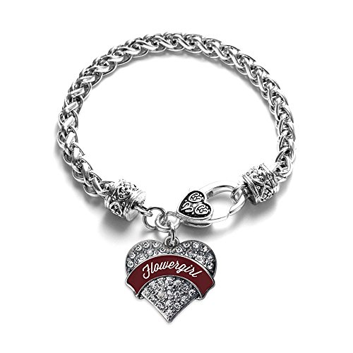 Burgundy Flower Girl Pave Heart Bracelet Silver Plated Lobster Clasp Clear Crystal Charm Burgundy Silver Plated