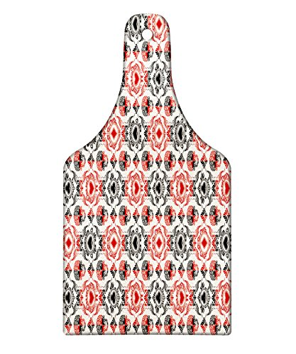 ing Board, Playing Card Themed Skeleton Head Ace of Spades Diamonds Hearts Victorian, Decorative Tempered Glass Cutting and Serving Board, Wine Bottle Shape, Vermilion Black Cream ()