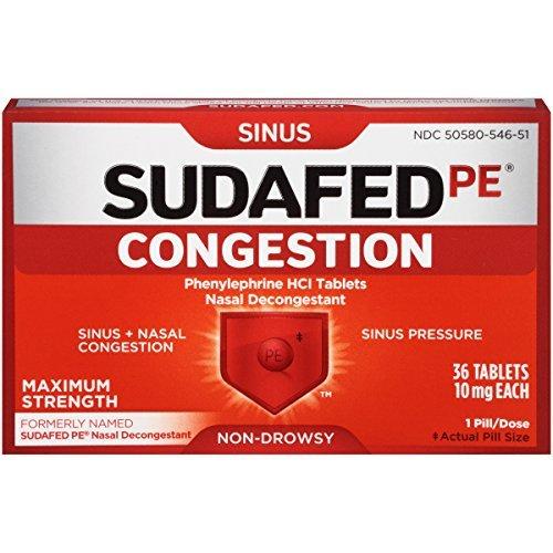 Sudafed PE Congestion Maximum Strength Non-Drowsy Tablets, 36 Count by Sudafed (Drowsy Non Sudafed)