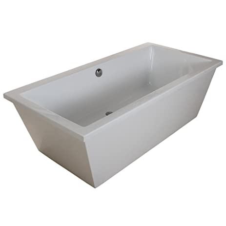 KINGSTON BRASS VTSQ663422 66 Inch Contemporary Freestanding Acrylic Bathtub,  White