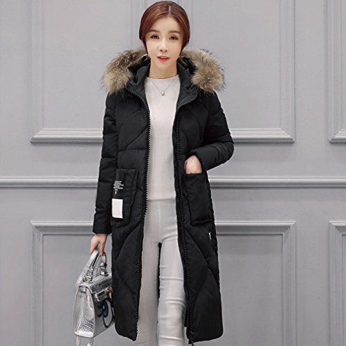 Long Jacket Puffer Women's Coats Hood Down Black Zip Puffer Bigood Full Casual xYpOqffv